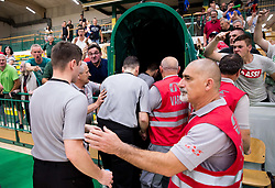Referees Bojan Krejic, Marko Vuckovic and Blaz Zupancic with security guards in front of angry supporters of Krka after the basketball match between KK Krka Novo mesto and  KK Petrol Olimpija in 4th Final game of Liga Nova KBM za prvaka 2017/18, on May 27, 2018 in Sports hall Leona Stuklja, Novo mesto, Slovenia. Photo by Vid Ponikvar / Sportida