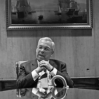 Mayor Thomas Menino sits at the table he has used as a desk for the last 20 years at Boston City Hall, Monday, January 06, 2014.