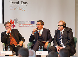 23.08.2015, Alpbach, AUT, Forum Alpbach 2015, Tiroltag, feierliche Eröffnung, im Bild v.l. Tirols Landeshauptmann Günther Platter (ÖVP), Südtirols Landeshauptmann Arno Kompatscher (SVP), Infrastruktur und Umweltlandesrat der Autonomen Provinz Trient Mauro Gilmozzi // f.l.t.r. Günther Platter (Governor of the Province of Tyrol) Arno Kompatscher (Governor of the Autonomous Province of Bolzano) Mauro Gilmozzi (Member of the Provincial Government Responsible for Infrastructure and Environment Autonomous Province of Trento) during the opening Ceremony of 2015 European Forum Alpbach in Alpbach, Austria on 2015/08/23. EXPA Pictures © 2015, PhotoCredit: EXPA/ Johann Groder