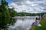 Henley Royal Regatta, 3-7 July 2019. Spectators watch, as Henley Rowing Club A (top)  and Latymer Upper School B, race away from the Start, in the Heat, of the Diamond Jubilee Challenge Cup, Royal Henley Peace Regatta Centenary, 1919-2019. Henley on Thames.<br /> <br /> <br /> <br /> [Mandatory Credit: Patrick WHITE/Intersport Images], 6, 06/07/2019,  10:00:41