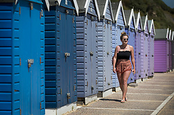 © Licensed to London News Pictures. 26/06/2018. Bournemouth, UK. A woman walks past mutli coloured beach huts in hot afternoon sunshine at Bournemouth. Most of the UK is enjoying summer temperatures in the high 20's today. Photo credit: Peter Macdiarmid/LNP