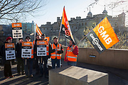 """For the first time in 55 years, Beefeaters with the GMB trade union have come out on strike and picket outside the Tower of London, on 22nd January 2019, in London England. The protest  about pension changes means Beefeaters and other staff's final salary pensions will be replaced by an inferior plan leaving them """"significantly worse off."""" GMB and PCS both said 50 of their members participated in the indistrial action at the Tower of London, Kensington Palace and Hampton Court. <br /> <br /> <br />  on 22nd January 2019, in London England."""