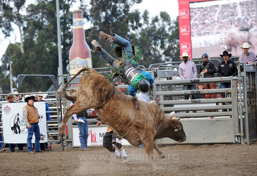 Shameless finally tosses rider Dee Lewis after a full eight second ride at the first round of Wednesday's 2013 PBR Touring Pro Division event at the Salinas Sports Complex.