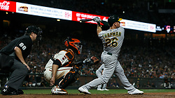 SAN FRANCISCO, CA - AUGUST 13: Matt Chapman #26 of the Oakland Athletics at bat against the San Francisco Giants during the ninth inning at Oracle Park on August 13, 2019 in San Francisco, California. The San Francisco Giants defeated the Oakland Athletics 3-2. (Photo by Jason O. Watson/Getty Images) *** Local Caption *** Matt Chapman