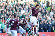 Peter Haring heads out the box during the Betfred Semi-Final Cup match between Heart of Midlothian and Celtic at Murrayfield, Edinburgh, Scotland on 28 October 2018.
