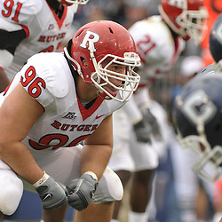 Oct 31, 2009; East Hartford, CT, USA; Rutgers defensive tackle Charlie Noonan (96) sets up at the line of scrimmage during second half Big East NCAA football action in Rutgers' 28-24 victory over Connecticut at Rentschler Field.