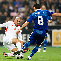 14 October 2008: French midfielder Yohann Gourcuff #8 vies with Houcine Ragued #6 during the friendly football match won 3-1 by France over Tunisia on October 14, 2008, at the Stade de France in Saint-Denis, near Paris, France.