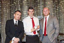 CARDIFF, WALES - Monday, October 8, 2012: Wales' Gareth Bale receives the Fans Player of the Year award from assistant coach John Hartson and Christian Thomas (VIP Group Cardiff) during the FAW Player of the Year Awards Dinner at the National Museum Cardiff. (Pic by David Rawcliffe/Propaganda)