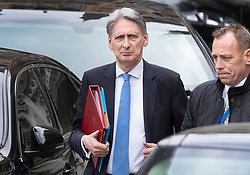 © Licensed to London News Pictures. 27/03/2019. London, UK. Chancellor Philip Hammond leaves Parliament after prime minister's questions. MPs will hold a series of indicative votes on different Brexit options this evening. Photo credit: Peter Macdiarmid/LNP