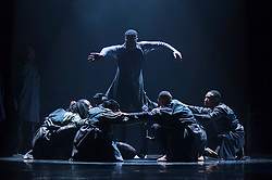 "© Licensed to London News Pictures. 17/10/2019. LONDON, UK.  Dancers from the Vuyani Dance Theatre and a South African a cappella quartet perform at a preview of ""Cion - A Requiem to Ravel's Bolero"" by Gregory Maqoma.  The show runs 17 to 19 October 2019 at the Barbican Theatre and is part of this year's Dance Umbrella festival.  Photo credit: Stephen Chung/LNP"