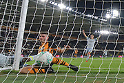 Hull City player Brandon Fleming (21) scores own goal for Derby to go 0-3 during the second round of the Carabao EFL Cup match between Hull City and Derby County at the KCOM Stadium, Kingston upon Hull, England on 28 August 2018. Photo by Ian Lyall.