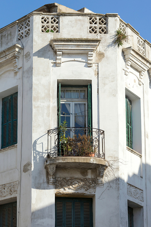 TETOUAN, MOROCCO - 6th April 2016 - Window shutter colonial architecture in the Tetouan Medina, Rif region of Northern Morocco.