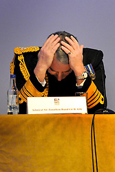 16/02/2009 Admiral Sir Jonathon Band GCB ADC makes a statement to the media stating that a British and French submarine did indeed have a collision whilst on active duty