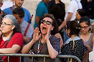 """Roma 19 Maggio 2015<br /> Manifestazione dei lavoratori della scuola davanti a Montecitorio indetto da tutti i sindacati contro la riforma della scuola del governo Renzi soprannominata 'La Buona Scuola"""", gli insegnanti accusano il governo di agevolare la privatizzazione dell'istruzione. Un insegnante urla contro i politici.<br /> Rome May 19, 2015<br /> Demonstration of school workers  in front of Deputies organized by all trade unions  against Renzi's school reform dubbed 'The Good School', teachers accuse of facilitating the privatisation of education.A teacher yells against at politicians."""