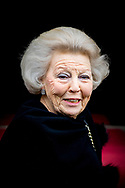 3-2-2018 AMSTERDAM - Princess Beatrix arrives at the Royal Palace on Dam Square for the birthday reception of Princess Beatrix. The princess celebrates her 80th birthday in private. ROBIN UTRECHT