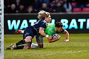 Sale Sharks scrum-half Faf De Klerk tackles Harlequins scrum-half Danny Care short of the line to prevent a try  during a Gallagher Premiership match at the AJ Bell Stadium, Eccles, Greater Manchester, United Kingdom, Friday, April 5, 2019. (Steve Flynn/Image of Sport)