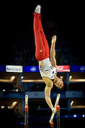 Lukas Dauser of Germany (GER) on the Parallel bars on his way to a Bronze Medal at the iPro Sport World Cup of Gymnastics 2017 at the O2 Arena, London, United Kingdom on 8 April 2017. Photo by Martin Cole.