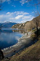 Ticino, Southern Switzerland. Lago Maggiore. View along the italian side of Lago Maggiore on a beautiful, sunny day.