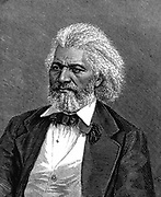 Frederick Douglass (1817-1895) American diplomat, abolitionist and writer. Son of a slave, a mulatto, he fled from slavery at 21. Wood engraving 1875