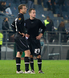 20.10.2011, UPC Arena, Graz, AUT, UEFA Europa League, Sturm Graz (AUT) vs RSC Anderlecht (BEL), im Bild Enttaeuschung bei Ferdinand Feldhofer (SK Sturm Graz, #5, Defense) und Christian Klem (SK Sturm Graz, #27, Midfield) // during UEFA Europa League football game between Sturm Graz (AUT) and RSC Anderlecht (BEL) at UPC Arena in Graz, Austria on 20/10/2011. EXPA Pictures © 2011, PhotoCredit: EXPA/ E. Scheriau