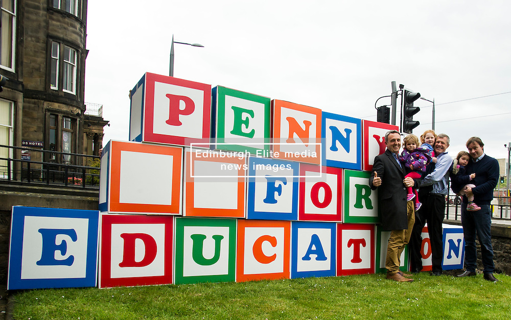 "Pictured: Lib Dem candidate Alex Cole-Hamilton, his daughter Darcy, Alexs Lang, Willie Rennie, Annabella Paterson and her candidate father Jamie.<br /> <br /> Scottish Liberal Democrat leader Willie Rennie made his final pitch for votes today as he unveiled large building blocks that spelt out the party's flagship ""Penny for education"" policy. Scottish Liberal Democrats HQ, 4, EH12 5DR. Adam Clarke 07450 980 386.the election on Thursday.<br /> <br /> Ger Harley 