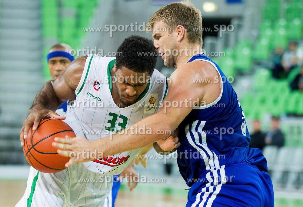 Arthur Alexander Stephes of Union Olimpija vs Andrija Zizic of Cibona during basketball match between KK Union Olimpija Ljubljana and KK Cibona Zagreb in 2nd Round of ABA League 2013/14 on October 10, 2013 in Arena Stozice, Ljubljana, Slovenia. (Photo by Vid Ponikvar / Sportida)