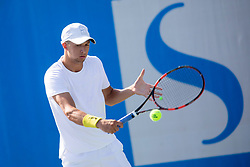 Anze Arh (SLO) play against Mark Andrejic (SLO) during qualification round at ATP Challenger Zavarovalnica Sava Slovenia Open 2018, on August 4, 2018 in Sports centre, Portoroz/Portorose, Slovenia. Photo by Urban Urbanc / Sportida