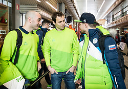 Bostjan Golicic, David Rodman and Luka Gracnar during departure of Slovenia Olympic Team for PyeongChang 2018, on February 6, 2018 in Airport Joze Pucnik, Brnik, Slovenia. Photo by Morgan Kristan / Sportida