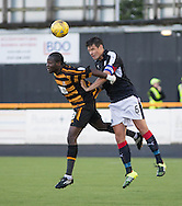 Dundee&rsquo;s Darren O&rsquo;Dea outjumps Alloa Athletic&rsquo;s Isaac Layne - Alloa Athletic v Dundee, pre-season friendly at Recreation Park, Alloa<br /> <br />  - &copy; David Young - www.davidyoungphoto.co.uk - email: davidyoungphoto@gmail.com