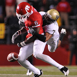Oct 16, 2009; Piscataway, NJ, USA; Rutgers wide receiver Mohamed Sanu (6) fumbles the ball in the closing minutes in second half NCAA football action in Pittsburgh's 24-17 victory over Rutgers at Rutgers Stadium.