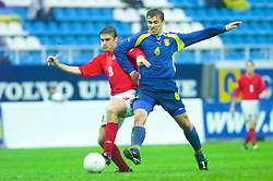 KIEV, UKRAINE - Tuesday, June 5, 2001: Wales' James Thomas in action against Ukraine's Serhii Bilozor during the Under-21 World Cup Qualifying match at the Dynamo Stadium. (Pic by David Rawcliffe/Propaganda)