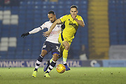Byron Moore and Chris Hussey  during the EFL Sky Bet League 2 match between Bury and Cheltenham Town at the JD Stadium, Bury, England on 27 November 2018.