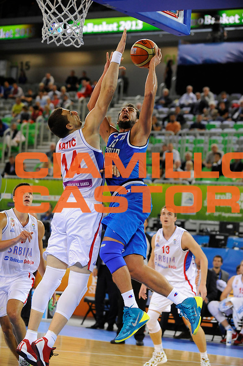 DESCRIZIONE : Lubiana Ljubliana Slovenia Eurobasket Men 2013 Finale Settimo Ottavo Posto Serbia Italia Final for 7th to 8th place Serbia Italy<br /> GIOCATORE : Marco Belinelli<br /> CATEGORIA : tiro shot<br /> SQUADRA : Italia Italy<br /> EVENTO : Eurobasket Men 2013<br /> GARA : Serbia Italia Serbia Italy<br /> DATA : 21/09/2013 <br /> SPORT : Pallacanestro <br /> AUTORE : Agenzia Ciamillo-Castoria/H.Bellenger<br /> Galleria : Eurobasket Men 2013<br /> Fotonotizia : Lubiana Ljubliana Slovenia Eurobasket Men 2013 Finale Settimo Ottavo Posto Serbia Italia Final for 7th to 8th place Serbia Italy<br /> Predefinita :