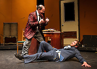 Max Bialystock played by Scott Alward tries to help his accountant Leo Bloom played by Frank Stetson III during dress rehearsal for The Producers with the Streetcar Company at Interlakes High School on Monday evening.   (Karen Bobotas/for the Laconia Daily Sun)