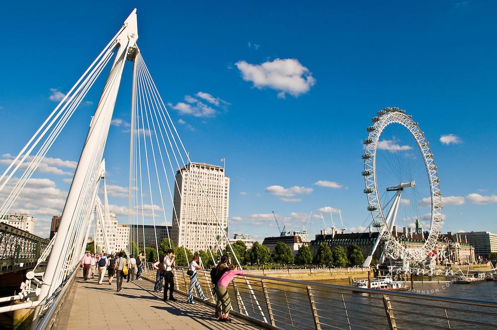 London Eye & the River Thames from Millinium Bridge, London, England, UK