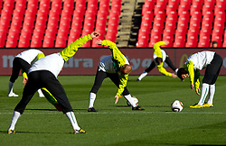 Miso Brecko and Branko Ilic of Slovenia during a training session at  Ellis Park Stadium on June 17, 2010 in Johannesburg, South Africa.  (Photo by Vid Ponikvar / Sportida)