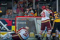 REGINA, SK - MAY 22: \Referee Steve Papp calls a stop in play between the Hamilton Bulldogs and the Acadie-Bathurst Titan at the Brandt Centre on May 22, 2018 in Regina, Canada. (Photo by Marissa Baecker/CHL Images)