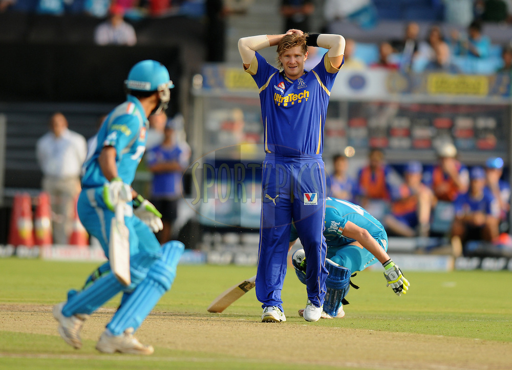 Shane Watson of Rajasthan Royals reacts after a close call  during match 52 of the  Indian Premier League ( IPL) 2012  between The Pune Warriors India and the Rajasthan Royals held at the Subrata Roy Sahara Stadium, Pune on the 8th May 2012..Photo by Pal Pillai/IPL/SPORTZPICS