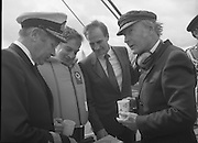 Round Europe Yacht Race.   (R61)..1987..25.07.1987..07.25.1987..25th July 1987..President Patrick Hillery started the Round Europe Yacht Race which began at Dun Laoghaire today...Photograph shows (L-R), Commodore Liam Brett,Flag Officer, Commanding the Naval Service, Commissioner Peter Sutherland, Mr Michael Noonan TD, Minister for Defence and president Patrick Hillery.