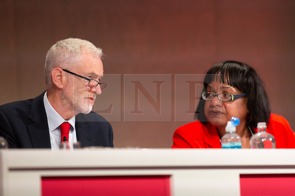 © Licensed to London News Pictures. 23/02/2019. Telford, UK. Labour leader Jeremy Corbyn addressing the Labour Party Women's Conference in Telford pictured in discussion onstage with Diane Abbott. Photo credit: Dave Warren/LNP