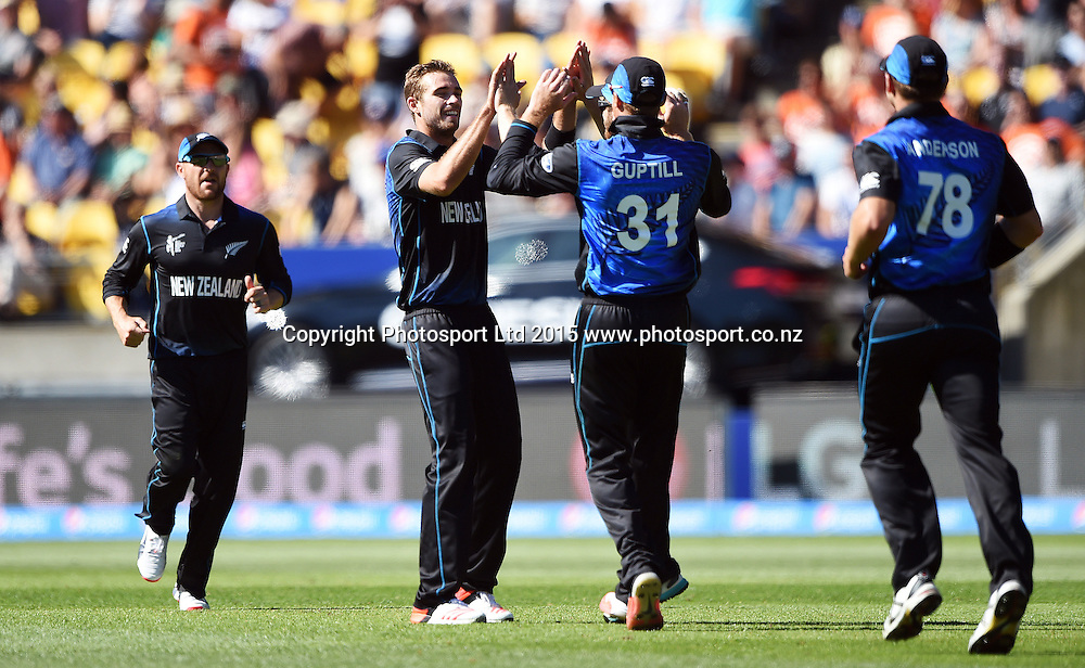 New Zealand bowler Tim Southee celebrates the wicket of Woakes during the ICC Cricket World Cup match between New Zealand and England in Wellington, New Zealand. Friday 20 February 2015. Copyright Photo: Andrew Cornaga / www.Photosport.co.nz