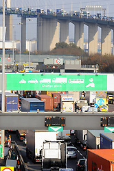 © Licensed to London News Pictures. 28/11/2014 <br /> Half hour delays at the Dartford Crossing.<br /> The final commuter rush hour at the Dartford Tolls,Dartford,Kent before the new system Dart Charge goes live in Kent.     today (28.11.2014)<br /> (Byline:Grant Falvey/LNP)