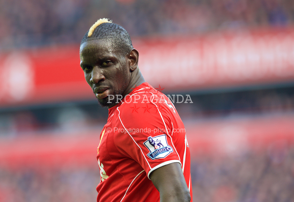 LIVERPOOL, ENGLAND - Sunday, March 22, 2015: Liverpool's Mamadou Sakho in action against Manchester United during the Premier League match at Anfield. (Pic by David Rawcliffe/Propaganda)