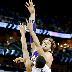 Nov 8, 2013; New Orleans, LA, USA;  Los Angeles Lakers center Pau Gasol (16) shoots over New Orleans Pelicans power forward Anthony Davis (23) during the third quarter of a game at New Orleans Arena. The Pelicans defeated the Lakers 96-85. Mandatory Credit: Derick E. Hingle-USA TODAY Sports