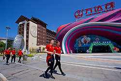 NANNING, CHINA - Tuesday, March 20, 2018: Wales' Tom Lockyer and Lee Evans during a team walk at the Wanda Realm Resort ahead of the 2018 Gree China Cup International Football Championship. (Pic by David Rawcliffe/Propaganda)