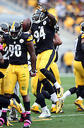 Pittsburgh Steelers inside linebacker Lawrence Timmons (94) jumps in the air as he celebrates after intercepting a first quarter pass near mid field during the 2015 NFL week 6 regular season football game against the Arizona Cardinals on Sunday, Oct. 18, 2015 in Pittsburgh. The Steelers won the game 25-13. (©Paul Anthony Spinelli)