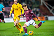 Ryotaro Meshino (#77) of Heart of Midlothian FC during the Ladbrokes Scottish Premiership match between Heart of Midlothian FC and Livingston FC at Tynecastle Park, Edinburgh, Scotland on 4 December 2019.