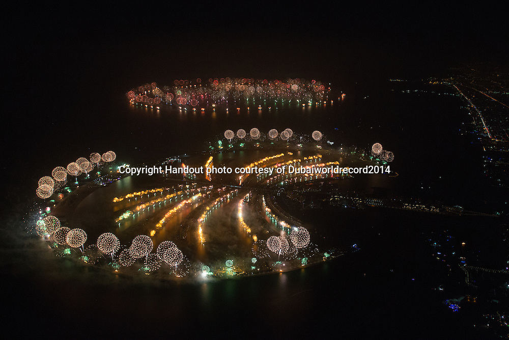 Dubai breaks the Guinness World Record for the 'Largest Firework Display' across the whole of The Palm Jumeirah and the islands of The World.<br /> The World Record breaking display covered a distance of over 99.4km of shoreline and featured hundreds of thousands of colourful fireworks and a series of scenes designed exclusively for the show and set to a musical soundtrack designed for the event.