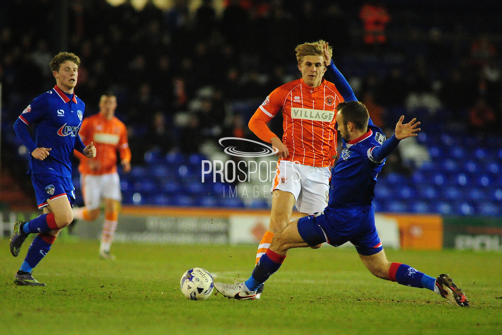 Brad Potts of Blackpool FC during the Sky Bet League 1 match between Oldham Athletic and Blackpool at SportsDirect.Com Park, Oldham, England on 15 March 2016. Photo by Mike Sheridan.