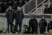 Ronnie Moore (Hartlepool United) watches on with time running out and his team down 2-1 during the Sky Bet League 2 match between Hartlepool United and Stevenage at Victoria Park, Hartlepool, England on 9 February 2016. Photo by Mark P Doherty.